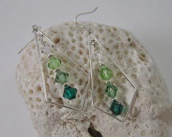 Green Swarovski Crystal Ombre Dangle Earrings