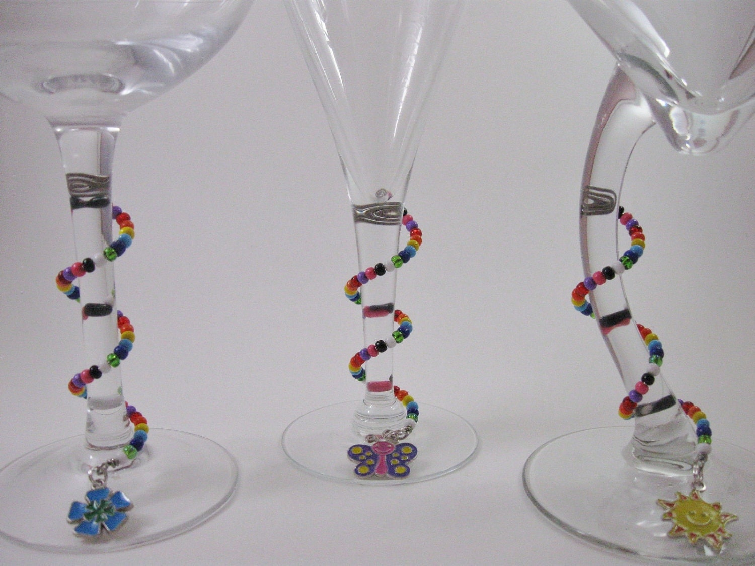 unique colorful beaded spiral wine glass charms set of 8