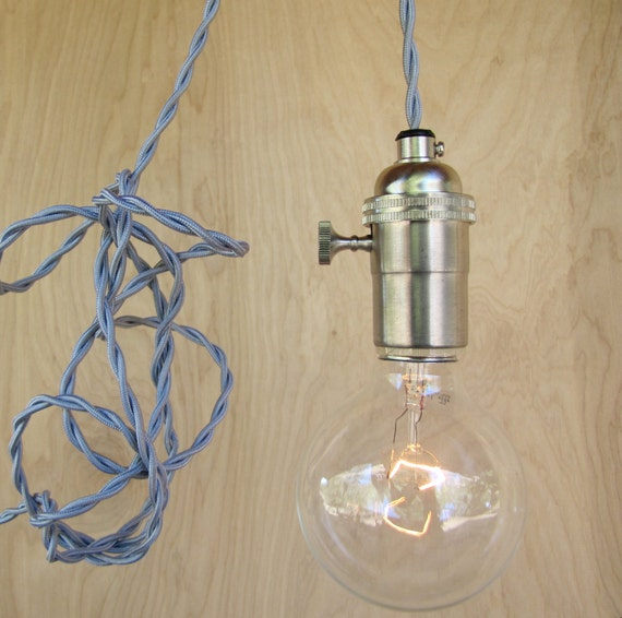 Silver Grey Pendant Lighting / Gray Wire Hanging Edison Bare Bulb Minimalist Light / Man Gift