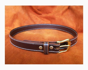 Hand Made stitched Leather belt in Dark Chocolate