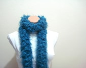 SALE knit scarf, womens scarf, Blue green Fashion Hairy Scarf, gifts for women, mothers day gift ideas, knitted scarf under 25 usd