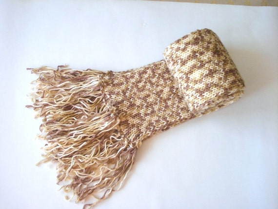 hand knit scarf, mens scarf, womens scarf, cream ivory brown caramel long womens Scarves, caramel crochet scarf, womens scarfs, chunky scarf