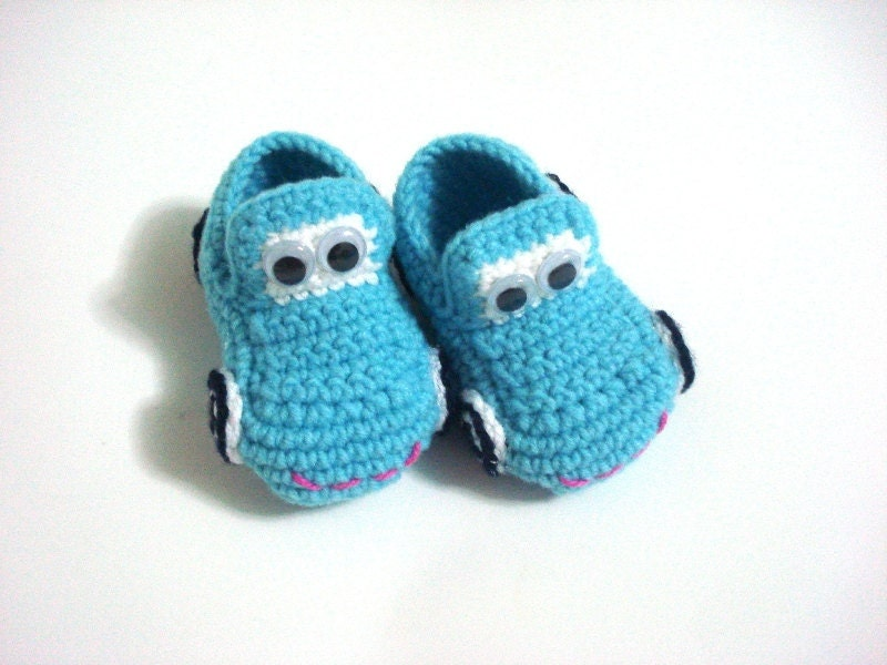 baby boy shoes Baby Booties Cars blue turquoise by