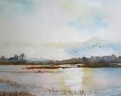 Cooley Lake Sunset- print of an original watercolor
