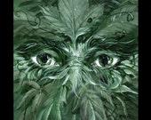 Green Man - print of an original acrylic