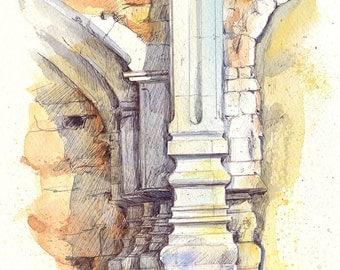 San Juan Capistrano - print of an original ink and watercolor