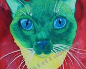 Green Siamese Cat With Blue Eyes Limited Edition 8x10 or 11x14 Giclee Cat Art Print of Watercolor Painting , Siamese  Kitty , Cat Artwork