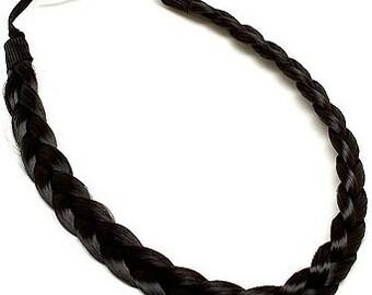 Dark Brown Braided Synthetic Hair Headband