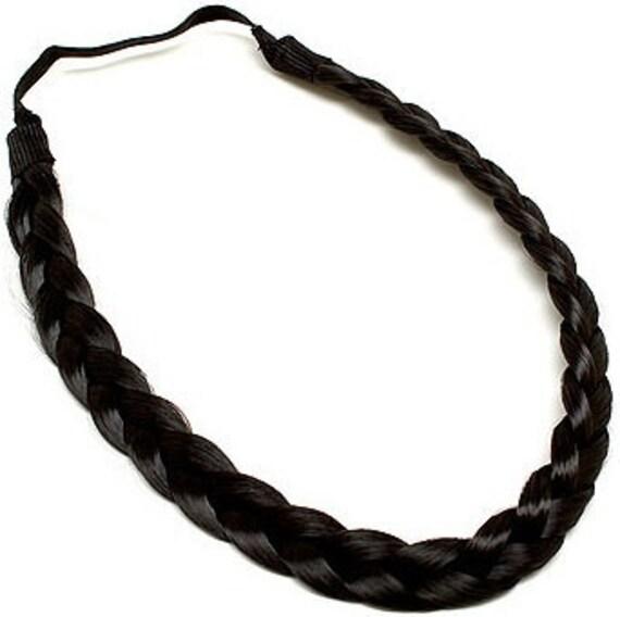 Items similar to Dark Brown Braided Synthetic Hair Headband on Etsy