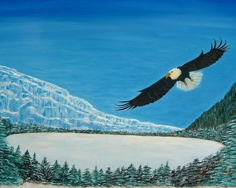 Cool Mountain Flight Original Acrylic Painting Art