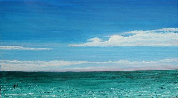 Navarre Beach Original Acrylic Ocean Painting Free Shipping