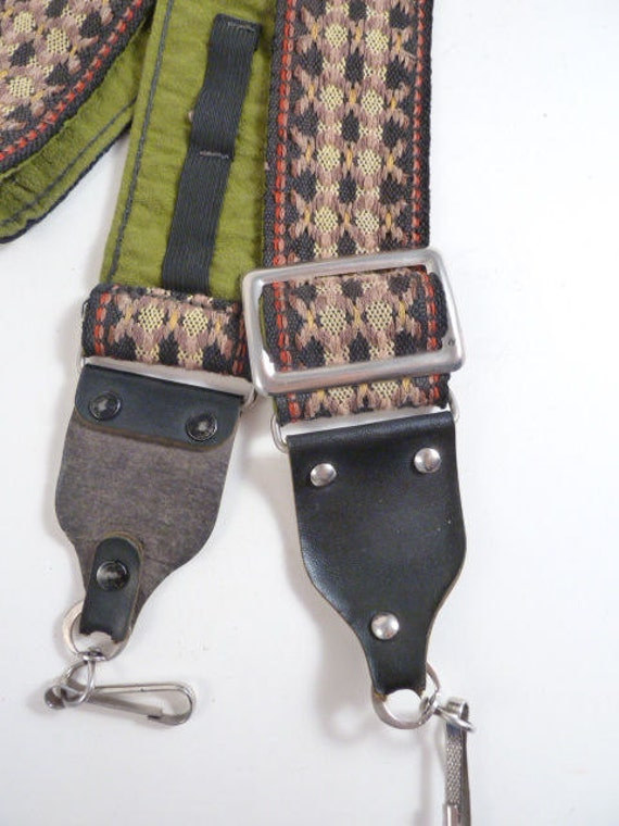 Vtg Woven Camera Strap, Neutral Woven Strap w/Moss Green Backing