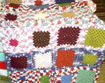 Multi Color Granny Square Afghan