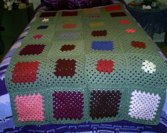 Green Granny Square Afghan