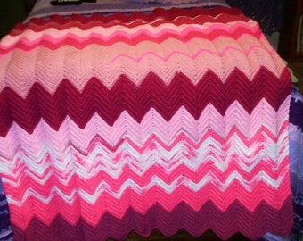 Shades of Pink Ripple Afghan