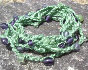Sea Green Crochet Cotton Purple and Green Glass Beaded Wrap Bracelet Necklace Anklet