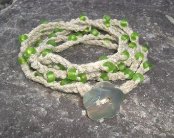 Crochet Layered Beaded Bracelet Necklace Anklet Lime Green With Shell Button Closure