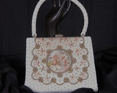 Vintage French Micro Beaded Bag with Crewel Signed Scene, Pearls and Rhinestones
