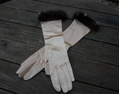 Vintage Champagne Satin Gloves Trimmed in Mink by Kay Fuchs