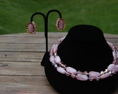 Vintage Trifari Pink Glass and Crystal Necklace Set
