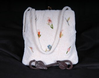Vintage White Beaded with Tambour Embroidery Bag From Belgium