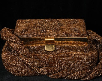 Vintage Charlet Paris/New York Iridescent Copper Glass Beaded Pooch Bag