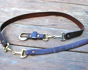 Vintage Garay Leather Belt - Horse Bridle Design and Hardware