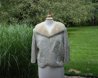 1950's Vintage Cream Ribbon Jacket with Mink Collar