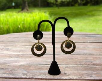Vintage Damascene Hoop Earrings