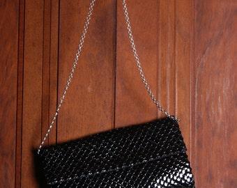 1980's Whiting & Davis Black Enameled Shoulder Bag