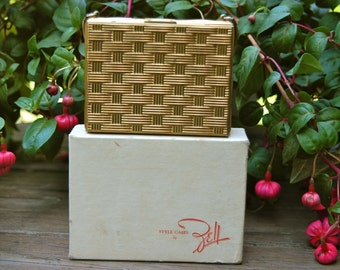 Vintage Zell Fifth Avenue Goldtone Vanity Carryall Style Case with Original Box