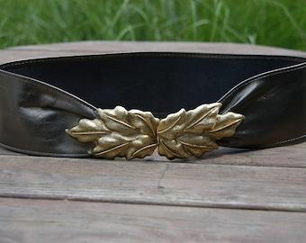 Vintage Clara for Firenze Metallic Leather Belt with Gold Leaf Buckle