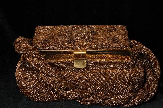 Vintage Charlet Paris/New York Iridescent Copper Glass Beaded Pooch Bag