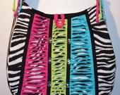 Zebra Mardi Gras Messenger Bag - Hobo Bag, Pink/Green/Blue Shredded Purse, Fashion Bag