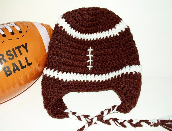 Crochet Pattern Baby Hat Free : Crocheted Baby Football Earflap Hat Superbowl by ...
