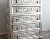 Mexican style carved 5 drawers chest