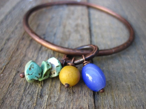 Copper Bangle- purple, yellow, and turquoise colored