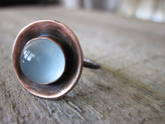 Moonstone copper ring - artisan ring