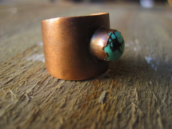 Turquoise ring- One World copper tapered ring