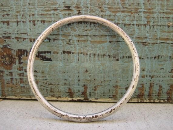 Chunky Silver Bangle- Wabi Sabi bracelet