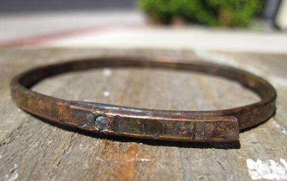 Weathered Copper Bangle- Wabi Sabi Riveted Bracelet