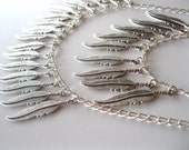Double Chain Silver Feather Necklace, Statement Necklace, Spring, Spring 2013