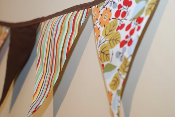 Fabric Bunting/ Pennant  Banner - BIG flags, Girl theme, with cute birds--Completed and Ready to Ship