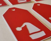 Red and White Santa Hat Gift Tags Ready to Ship Set of 8