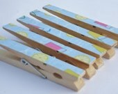 Altered Clothespin Clips Sky Blue Pink Yellow