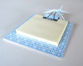 Blue and White Glitter Circle Post It Note Pad Holder
