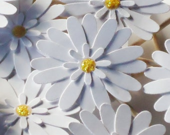 Daisy Cupcake Toppers with Glittery Yellow Centers - Set of 12
