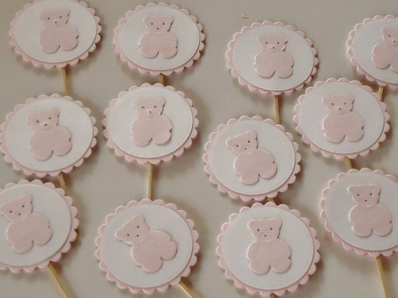 Teddy Bear Cupcake Toppers Pale Pink Set of 12