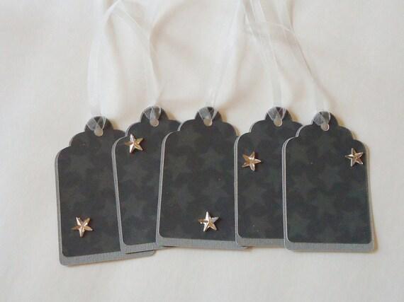 Gift Tags Gray Grey Stars Hang Tags Set of 10