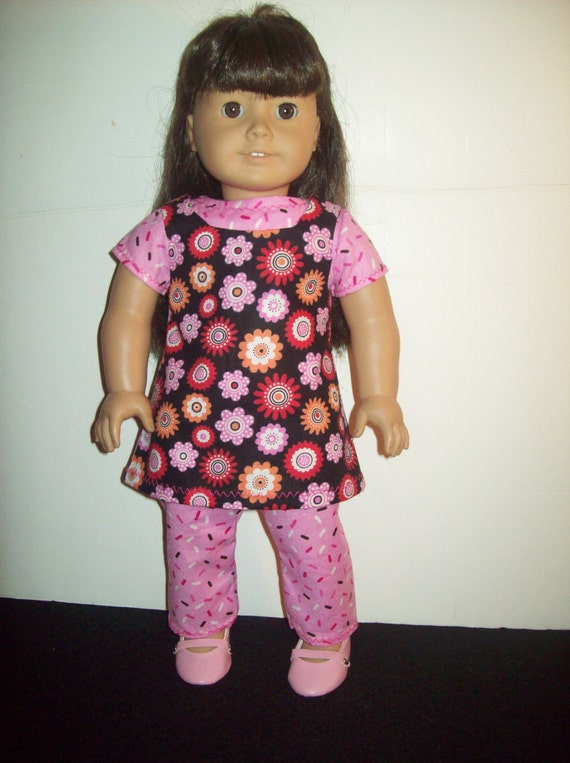 Pink and Brown 3 Piece Outfit for American Girl or 18 Inch dolls